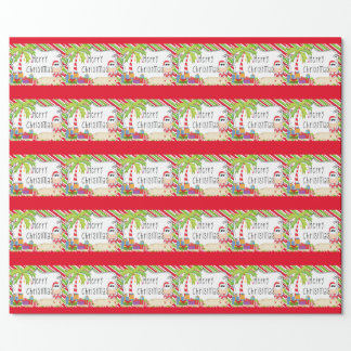 Santa on The Beach Wrapping Paper