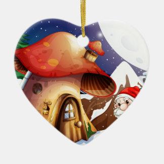 Santa outside the mushroom house ceramic ornament