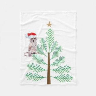 Santa Owl and Christmas tree Custom Fleece Blanket