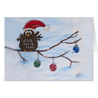 Santa Owl Christmas Card