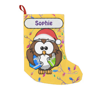 Santa owl & Christmas lights Small Christmas Stocking