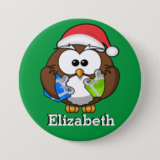 Santa Owl Christmas Stocking Name Tag 3 Inch Round Button