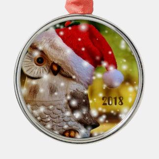 Santa owl festive ornament for a happy 2018