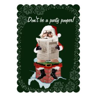"Santa ""Party Pooper"" Funny Christmas Invitations"