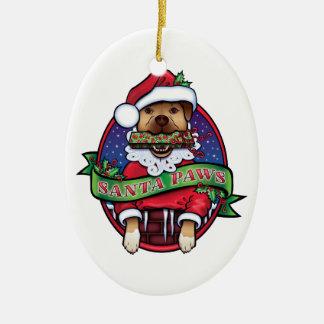 Santa Paws Ceramic Oval Ornament