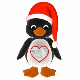 Santa Penguin Custom Photo Holiday Ornament Acrylic Cut Outs