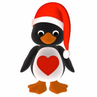 Santa Penguin Holiday Ornament Photo Sculpture Ornament