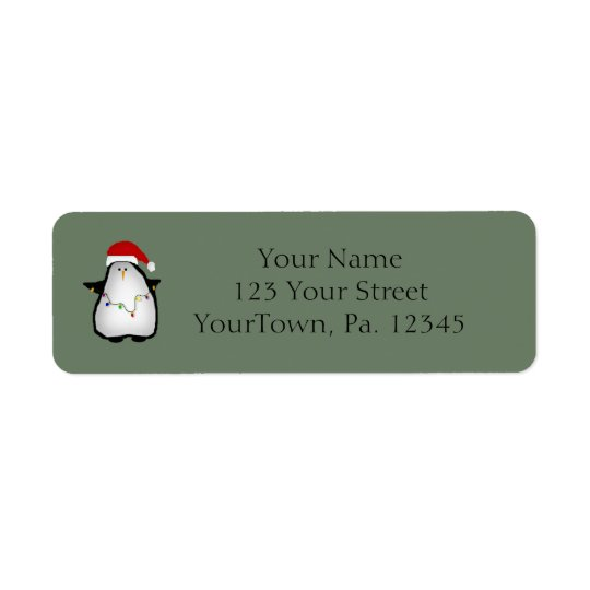 Santa Penguin Label