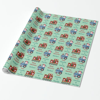 Santa Penguin Train Personalized Kids Wrapping Paper