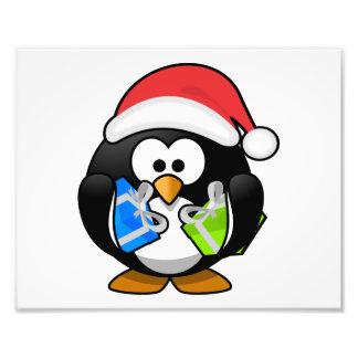 Santa Penguin with Presents Photo Print