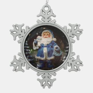 Santa Pewter Snowflake Ornament