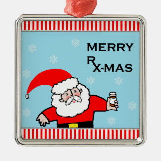 Santa Pharmacist Metal Ornament