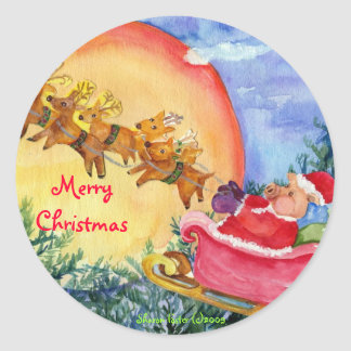 Santa Pig Delivers Joy -Christmas Sticker