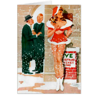 Santa Pin-Up Girl Christmas Greeting Card