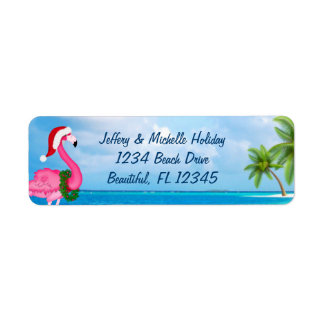 Santa Pink Flamingo Christmas Beach Address Return Address Label