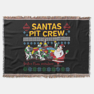 Santa Pit Crew Race Car Ugly Christmas Sweater Throw Blanket