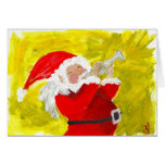 Santa playing trumpet! greeting card