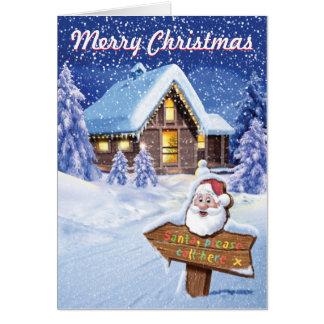 """Santa please call here"" 5x7 inch Christmas card"