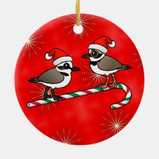 Santa Plovers Ceramic Ornament