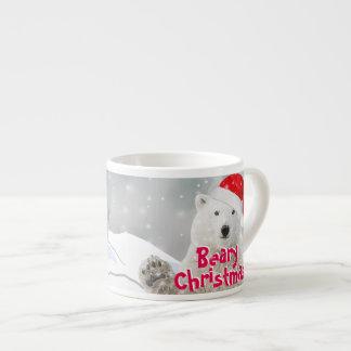 Santa Polar Bear   Beary Christmas Espresso Mug 6 Oz Ceramic Espresso Cup