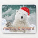 Santa Polar Bear   Beary Christmas Mousepad
