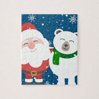 Santa Polar Bear Christmas Snow Snowflakes Cute Jigsaw Puzzle