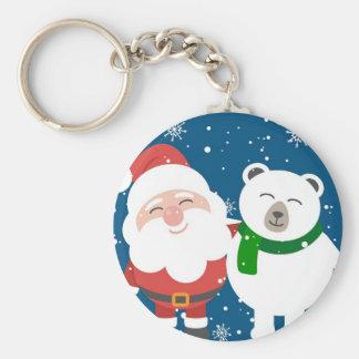 Santa Polar Bear Christmas Snow Snowflakes Cute Keychain