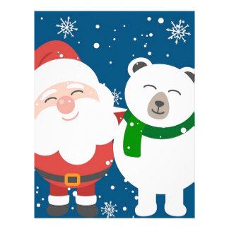 Santa Polar Bear Christmas Snow Snowflakes Cute Letterhead