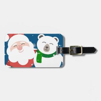 Santa Polar Bear Christmas Snow Snowflakes Cute Luggage Tag