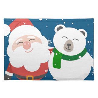 Santa Polar Bear Christmas Snow Snowflakes Cute Placemat