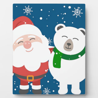 Santa Polar Bear Christmas Snow Snowflakes Cute Plaque