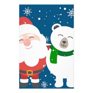 Santa Polar Bear Christmas Snow Snowflakes Cute Stationery