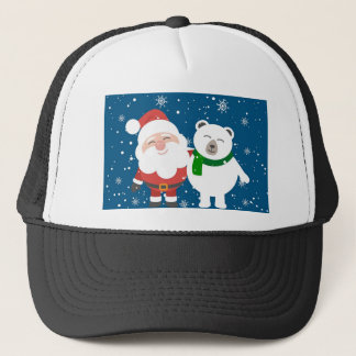 Santa Polar Bear Christmas Snow Snowflakes Cute Trucker Hat