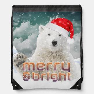 Santa Polar Bear | Drawstring Backpack