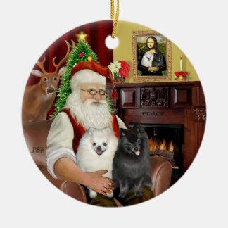 Santa - Pomeranians (TWO-BW) Ceramic Ornament