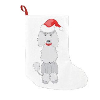 santa poodle dog small christmas stocking