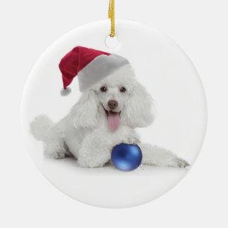 Santa Poodle Ornament
