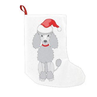 santa poodle small christmas stocking