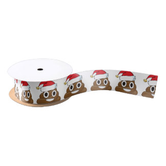 Santa Poop Christmas Gift Wrap Emoji Satin Ribbon