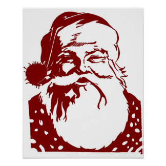 Santa Pop art Merry Christmas red Poster