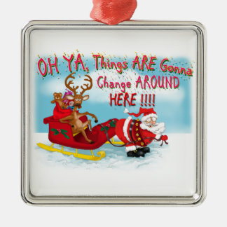 Santa pulling reindeer! Silver-Colored square ornament