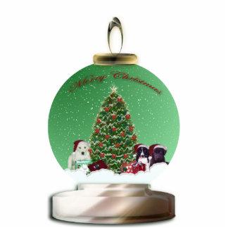 Santa Puppies Snow Globe Sculpture Photo Cutout