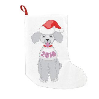 santa puppy 2018 small christmas stocking