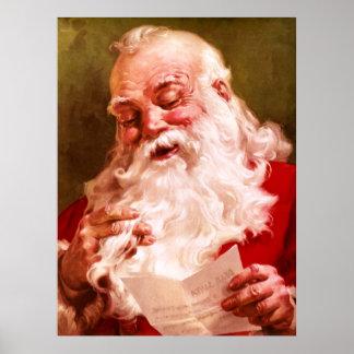 Santa Reading Letter Poster