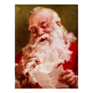 Santa Reading Letter Print