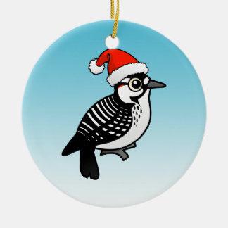 Santa Red-cockaded Woodpecker Christmas Ceramic Ornament