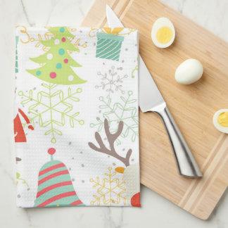 Santa, Reindeer, Bell and Christmas Tree Kitchen Kitchen Towel