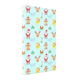 Santa, reindeer, bunny and cookie man Xmas pattern Canvas Print