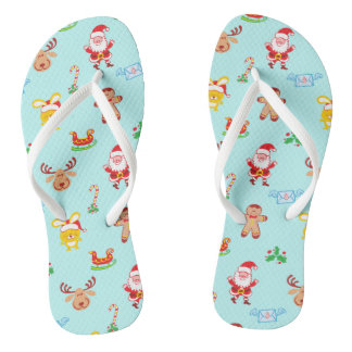 Santa, reindeer, bunny and cookie man Xmas pattern Flip Flops