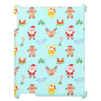 Santa, reindeer, bunny and cookie man Xmas pattern iPad Case